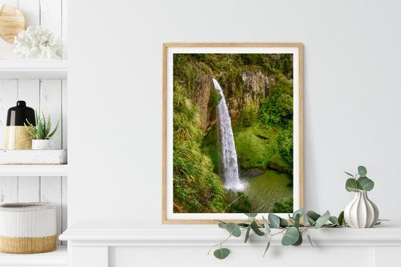 Bridal Veil Falls Photo Print, Waikato, New Zealand, Waterfall Art