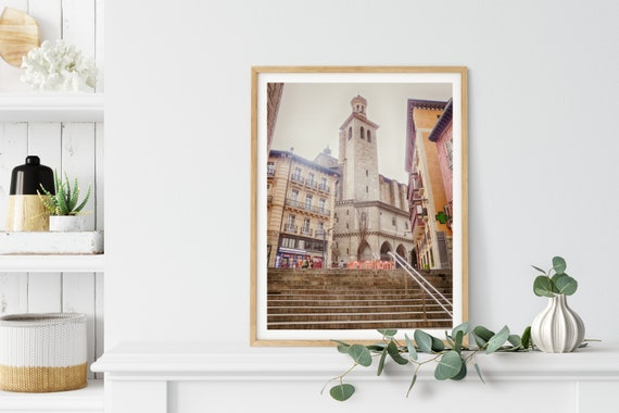 Gothic Church Photo Print, San Sebastian, Spain, Travel Art