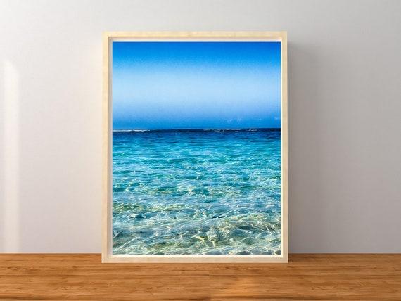 Blue Ocean Print, Bali Beach Photography, Beach Decor
