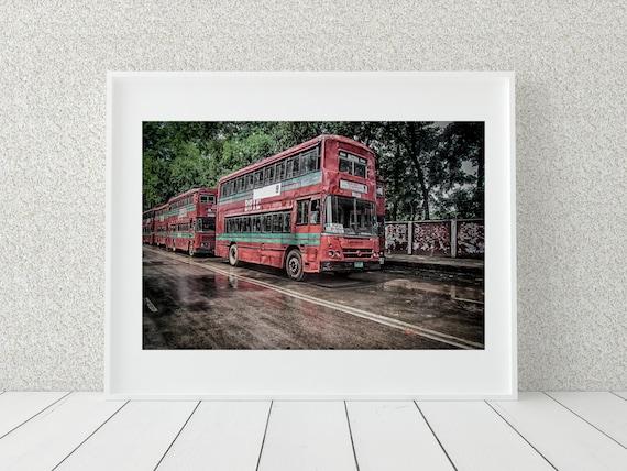 Double Decker Bus Photo Print, Bangladeshi Wall Art, Travel Decor