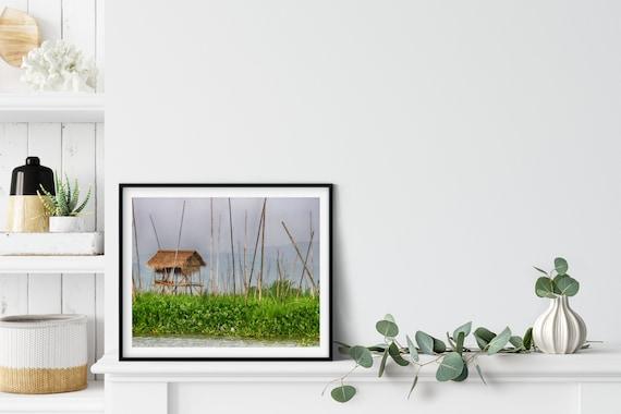 Fishing Hut Photo Print, Inle Lake, Myanmar, Travel Art