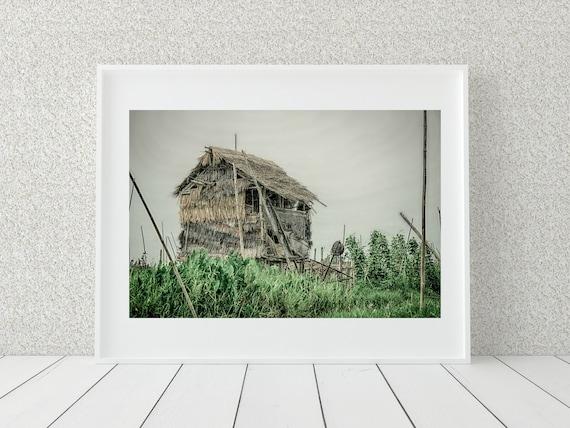 Fishing Village Photo Print, Myanmar Photography, Rustic Decor