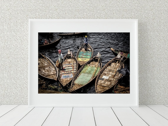 River Boats Photo Print, Bangladeshi Wall Art, Boat Decor