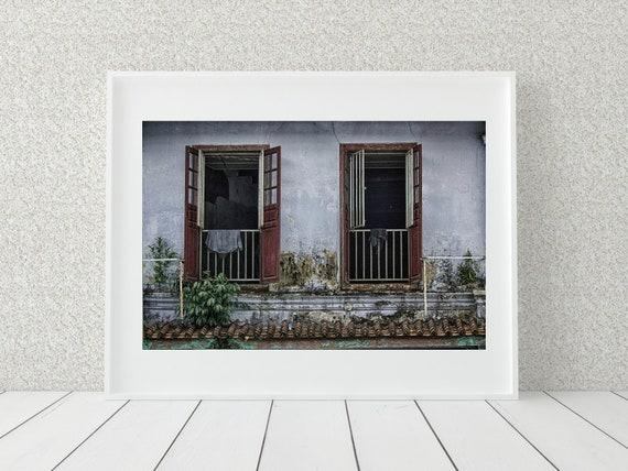 Window Photography Print, Malaysia Photography, Rustic Decor