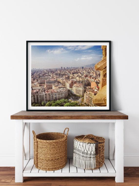 Aerial City Photo Print, Barcelona, Spain, Travel Art
