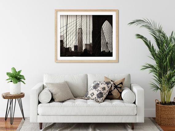 Brooklyn Bridge Photo Print, New York City, United States, Black And White Decor