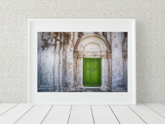 Green Door Photo Print, Myanmar Photography, Architecture Print