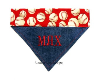 "Baseball Dog Bandana, Dog Collar Bandana, Personalized Dog Bandana, Red Dog Bandana, Dog Scarf, Dog Bandana Personalized, ""Play Ball"""