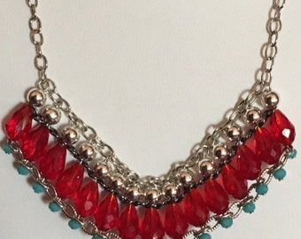Statement Necklace/ Ruby/ Turquoise