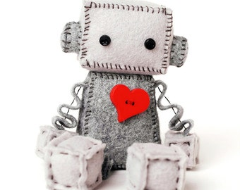 Plush Robot with a Big Red Heart - Geeky Gift - Nerdy Stuffed Plushie - Felt Robot Toy - Valentine Gift