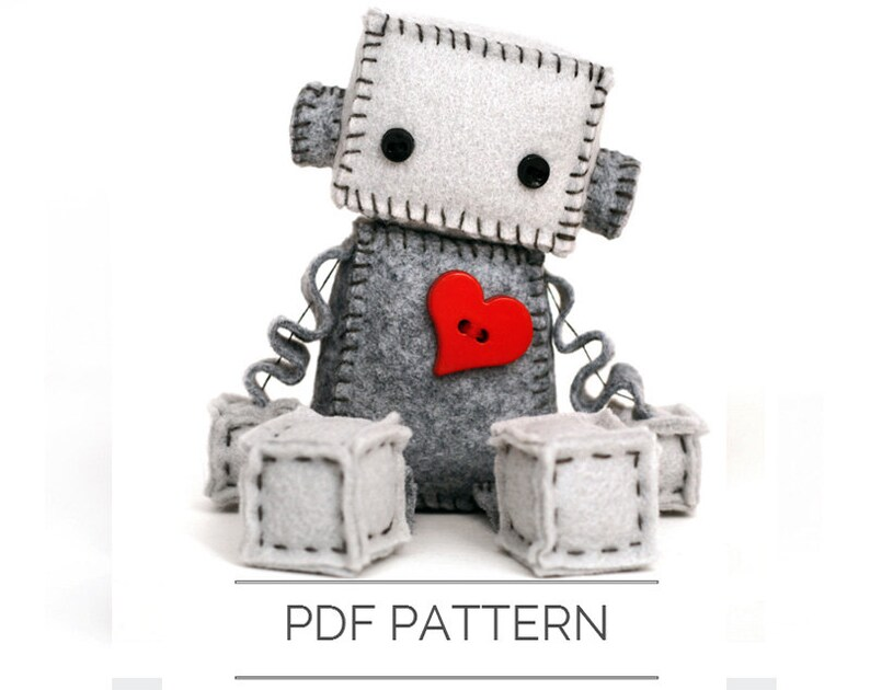 Felt Robot Plush Pattern PDF  Instant Download  DIY Stuffed image 0