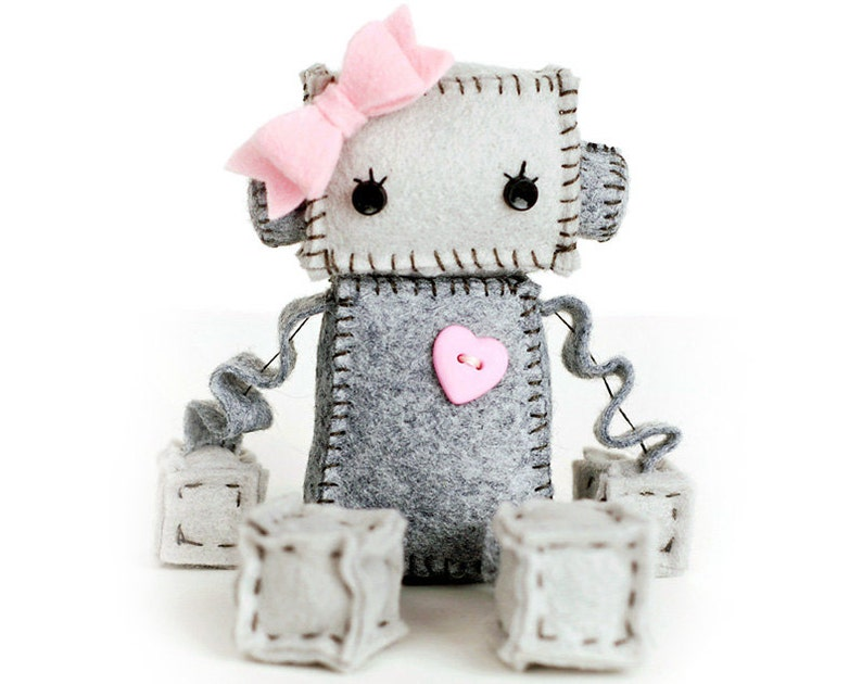 Sweet Plush Robot Girl in Gray with Pink Heart and Bow Robot image 0