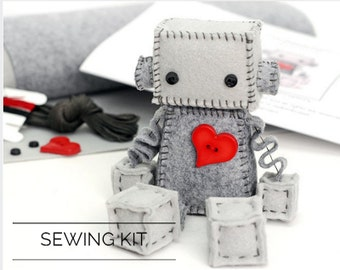 DIY Kit Felt Robot - Make Your Own Robot Plush - Includes Pattern and Supplies - Craft Pattern - Valentine Gift