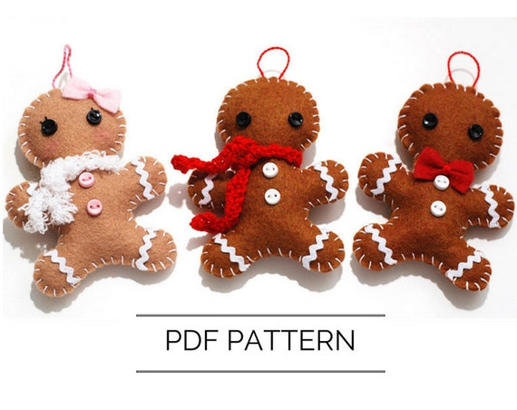 Diy Gingerbread Man Ornament Pdf Pattern Christmas Etsy