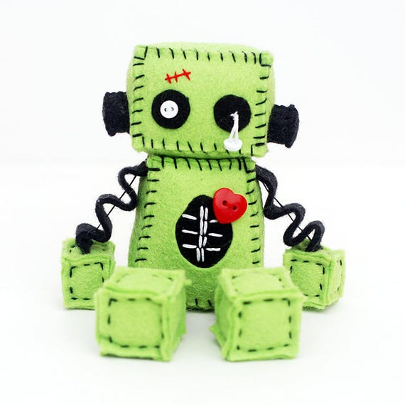 Zombie-Roboter-Plüsch mit Stiche und ein rotes Herz | Etsy