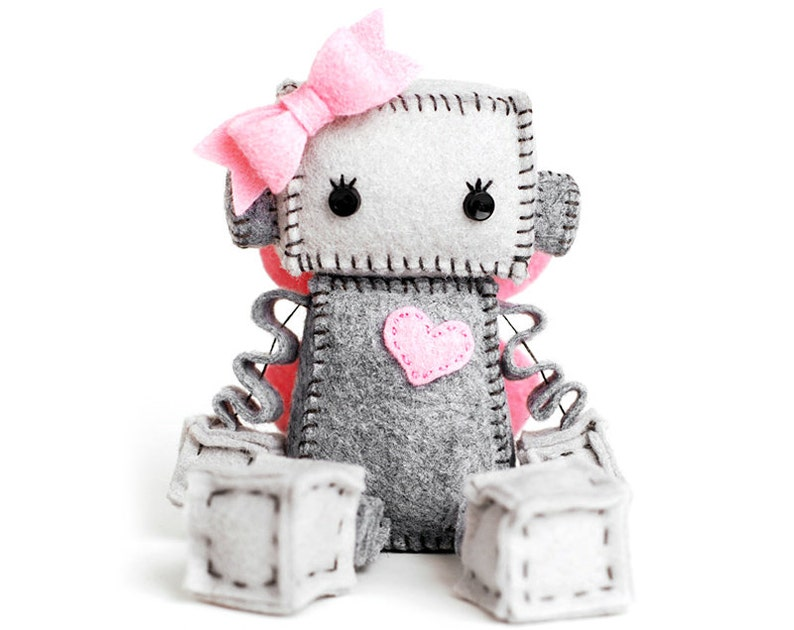 Fairy Robot Plush with Pink Fairy Wings Girl Robot with Pink image 0