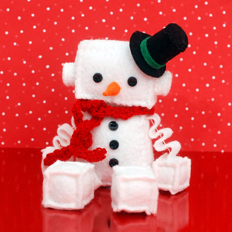 Snowman Robot Plush  Holiday and Christmas Plushie with Top image 0
