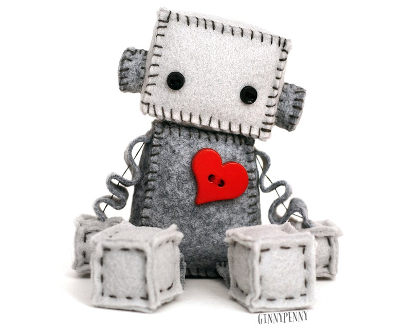 Plush Robot with a Big Red Heart  Geeky Gift  Nerdy Stuffed image 1
