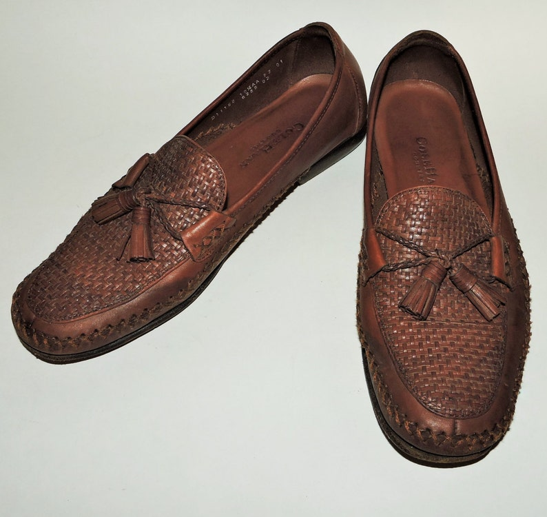 fff21d29497 Vintage Cole Haan Country Woven Brown Leather Tassel Loafer