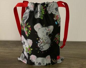 Christmas Koala Gift Bag, Reusable Fabric Gift Bags, Handmade Cotton Bag, Drawstring Bags, Fabric Bag, Zero Waste