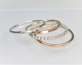 4 Stacking Rings, 1mm and 1.3mm Widths, Set of 4 Hammered Rings; Sterling Silver, 14K Gold Filled, and 14K Rose Gold Filled Rings