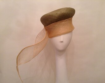 """Couture Hat- Pillbox- Parisisal- Sinamay-  Olive Ombre/Natural/Tan - """"Beth"""" - Kentucky Derby- Wedding - Church-Women's Headwear- Millinery"""