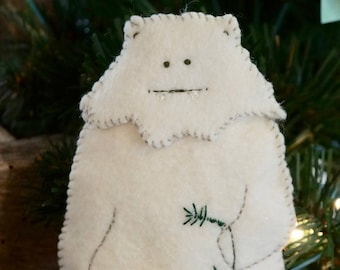 Yeti Abominable Snowman Felt Bear Pattern Downloadable pdf