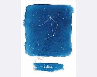 Printable Art, Libra Constellation, Zodiac, Astrology, Watercolor, Artwork, 5x7, Instant Digital Download