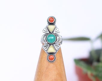 Coral, Turquoise, Olive Stone Statement Ring // Spoon Ring // Made to Order