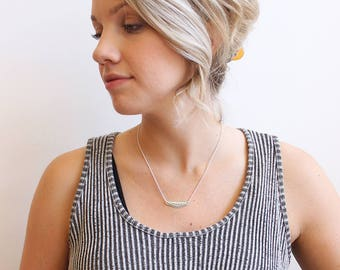 Stamped Sterling Silver Necklace // Dainty Necklace
