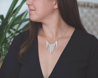 Fork Tine Statement Necklace // Gold