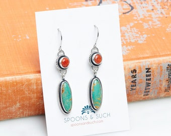 Kingman Turquoise & Coral Earrings // Made to order
