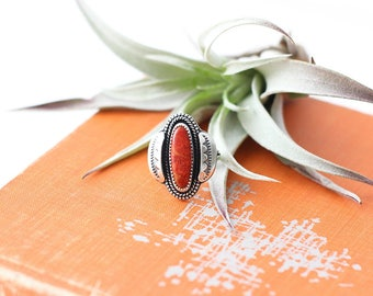 Apple Coral Sterling Silver Ring // Stamped // Southwest // MADE TO ORDER