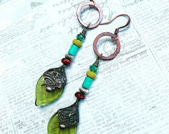Woodland Owl Earrings handcrafted by Angela Gruenke of Contents Jewelry
