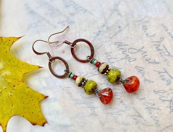 Artisan Enameled Earrings designed by Angela Gruenke at Contents Jewelry