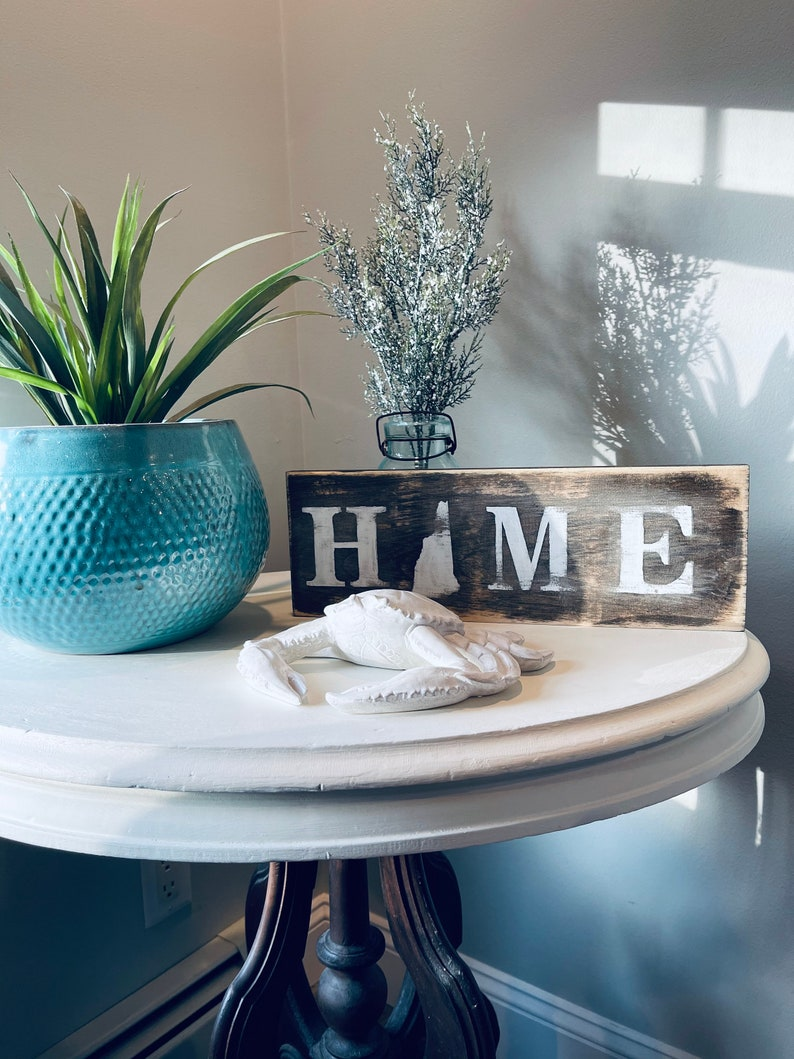 Rustic distressed mini New Hampshire NH HOME sign with state outline cabin decor rustic decor NH New Hampshire signage