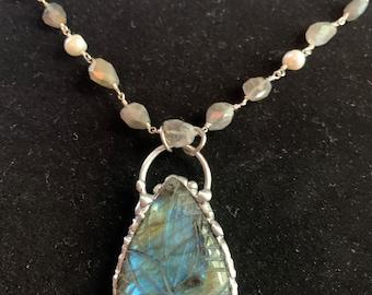 Aurora Prayers carved Labradorite Beaded Pearl Station necklace pendant