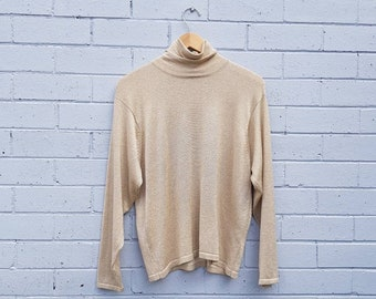 85c59505448 Vintage 1980s American  Talbots  Metallic Gold Lame Knit Roll Neck  Turtleneck Button Back Relax Fit Disco Jumper Sweater Sweatshirt Large