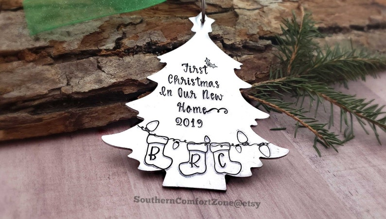 c6d983c5e108d Hand Stamped Ornament First Christmas in Our New Home