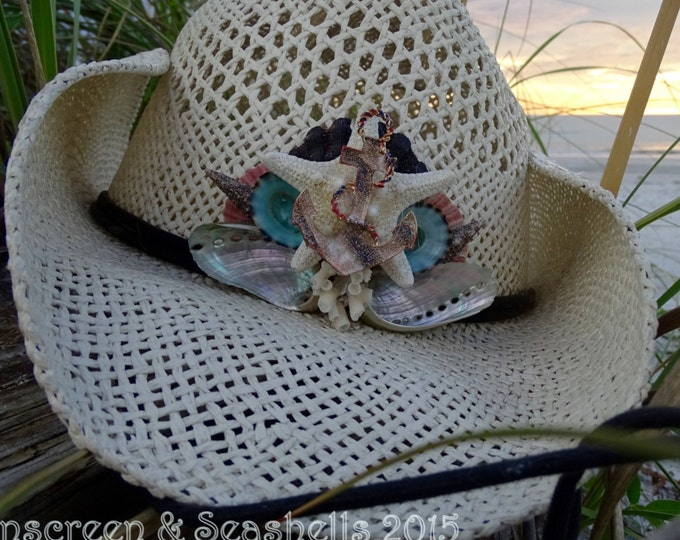 Featured listing image: Nautical Anchors Away Seashell Cowboy Hat ~ BEACH HAT ~ Sun Hat ~ Mermaid Hat~ Last sail before the veil