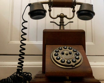 Wooden Vintage Desk Telephone ~ Victorian Cradle ~ Steampunk Phone ~ Steampunk landline phone ~ Faux Rotary Telephone
