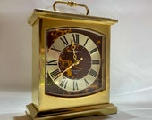 Howard Miller 1970s Brass Mantle Clock Vintage Howard Miller Roman Numerals Faux Tortoise Shell Face Brass Mantle Clock