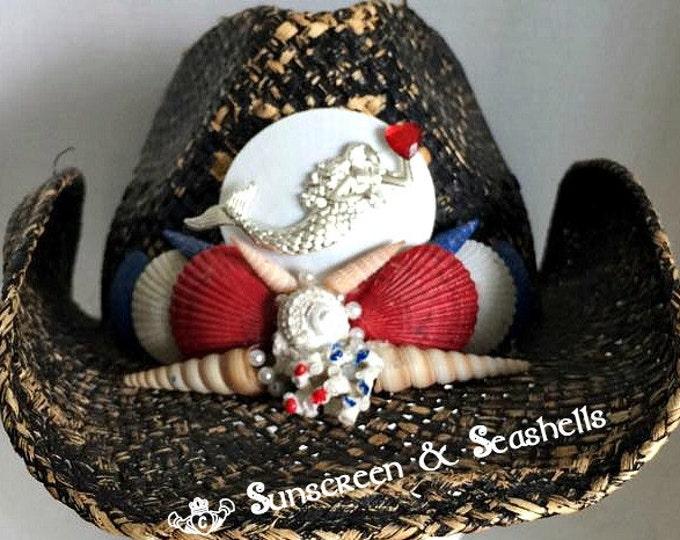 Featured listing image: USA Mermaid Festival Hat ~ Beach hat ~ Cowboy Hat ~ Distressed Cowboy Hat ~ Sun Mermaid Hat
