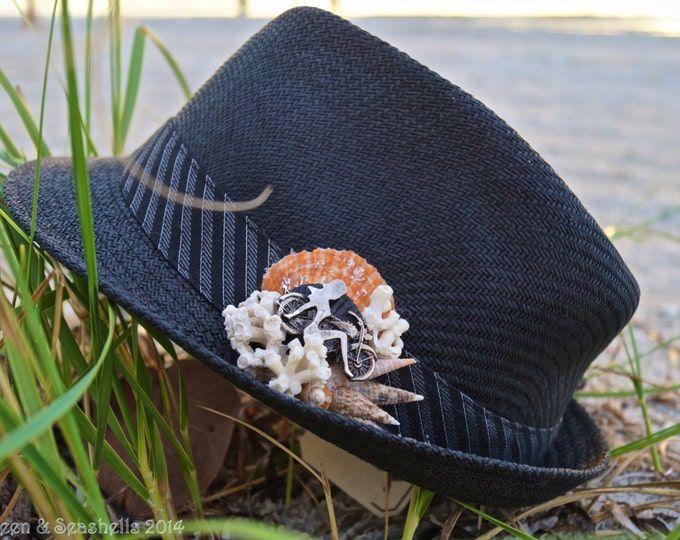 Featured listing image: Festival Fedora ~ Beach Biker Hat ~ Biker Hat ~ Seashell Biker Hat ~   Biker Mermaid Hat
