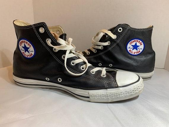 Vintage Black Leather Converse Shoes ~ 1980s Leath