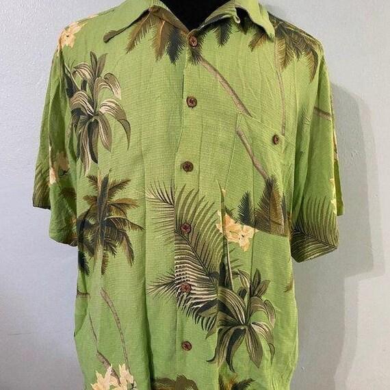 Green Silk Tommy Bahama Hawaiian Shirt Sz L - image 2