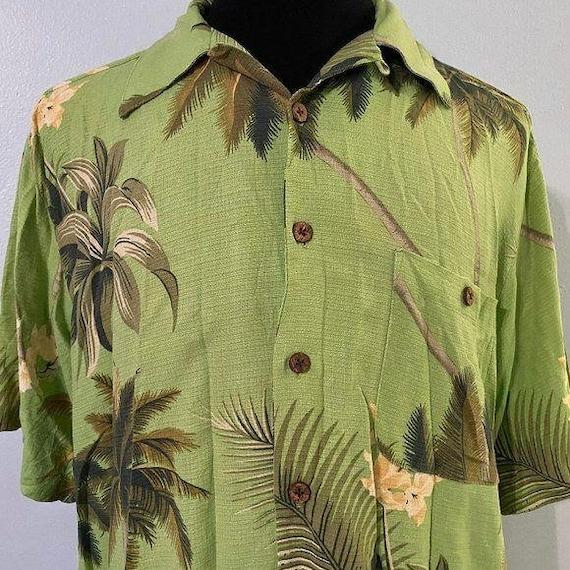 Green Silk Tommy Bahama Hawaiian Shirt Sz L - image 1