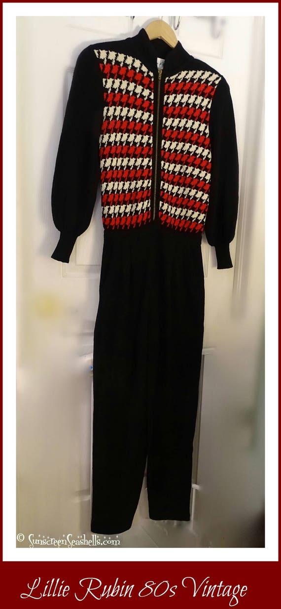 Vintage Lillie Rubin Red Sweater Jumpsuit ~ RARE … - image 2