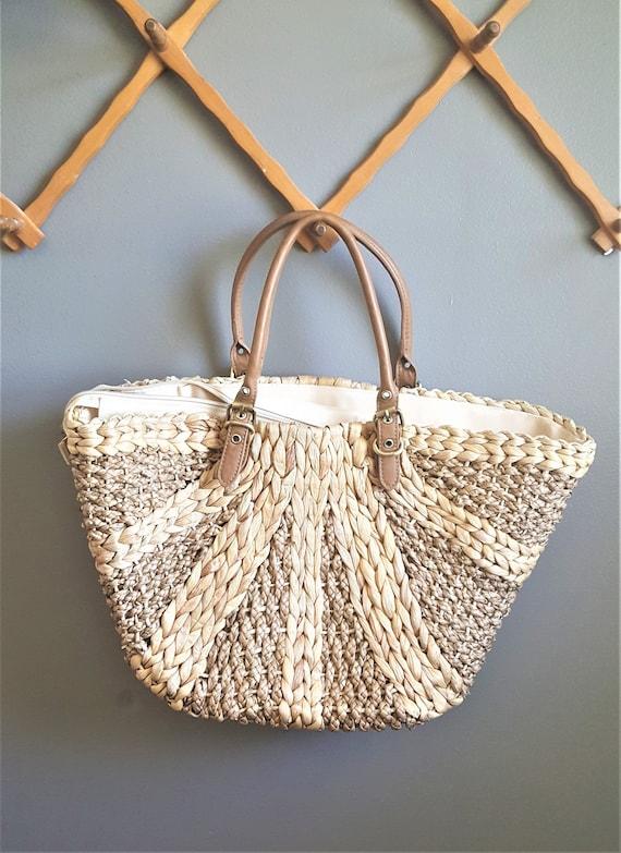 Vintage Straw Beach Bag, Woven Summer Bag, Market