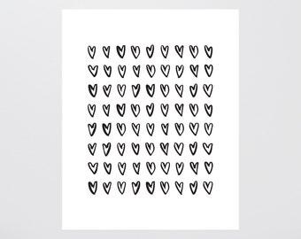 Ink Hearts Print
